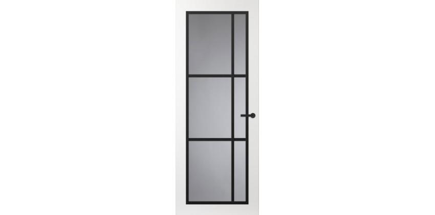 Binnendeur FR504 Glasdeur met zwarte glaslatten