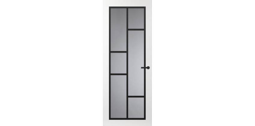Binnendeur FR506 Glasdeur met zwarte glaslatten