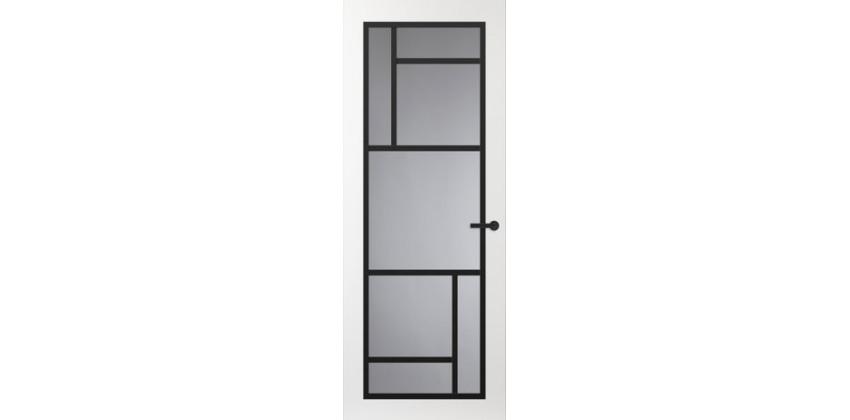 Binnendeur FR509 Glasdeur met zwarte glaslatten